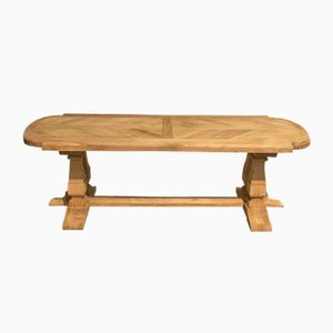 Large French Bleached Oak Refectory Farmhouse Dining Table