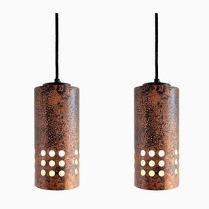 Brutalist Metal and Glass Pendant Lamps, 1960s, Set of 2