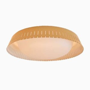 Mid-Century Opaline & Metal Ceiling Lamp by Bent Karlby