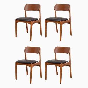 Chaises de Salon Mid-Century en Teck & Cuir par Erik Buch, Danemark, 1960s, Set de 4