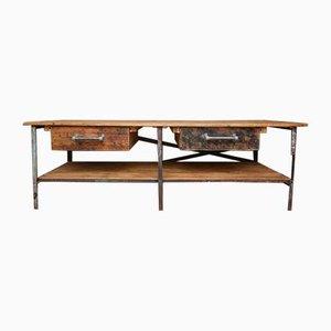 Großer Arbeitstisch aus Metall & Holz, 1970er