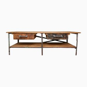 Large Metal & Wood Work Table, 1970s
