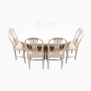 Gustavian Dining Table & Chairs Set, Set of 7