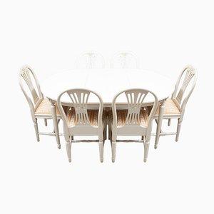 Gustavianischer Esstisch & Stühle, 7er Set