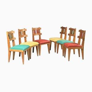 Chaises de Salle à Manger en Merisier, 1950s, Set de 6