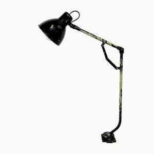 Industrielle Schwarze Emaille Tischlampe, 1950er