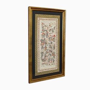 Panel antiguo de seda enmarcada