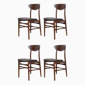 Mid-Century Danish Teak & Leather Dining Chairs, 1960s, Set of 4