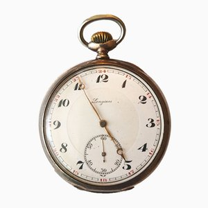 Antike silberne Taschenuhr von Longines