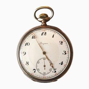 Reloj de bolsillo antiguo de plata de Longines
