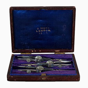 Small Antique Draughtsman's Compass Set from Hicks of London, Set of 3