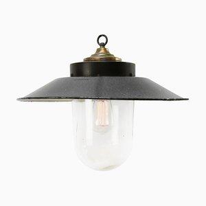 Lampe à Suspension Industrielle Vintage en Email Gris et Bakélite avec Plateau en Laiton