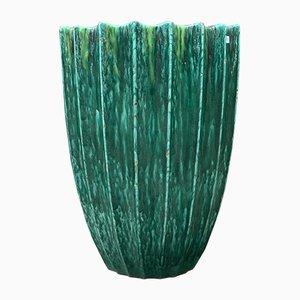Large Enamel Majolica Terracotta Vase by Giuseppe Mazzotti, 1950s