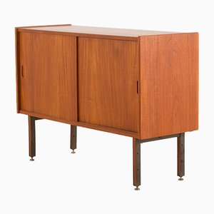 Italian Small Teak Sideboard with Brass Feet