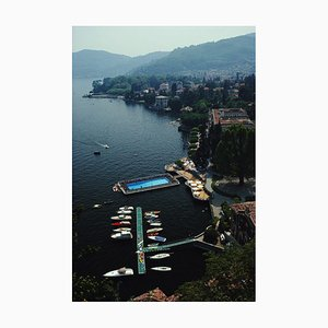 Hotel on Lake Como Oversize C Print Framed in White by Slim Aarons