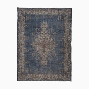 Vintage Blue Turkish Oushak Rug