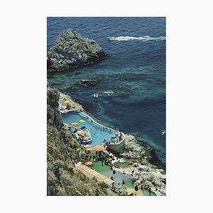 Hotel Taormina Pool Oversize C Print Framed in White by Slim Aarons