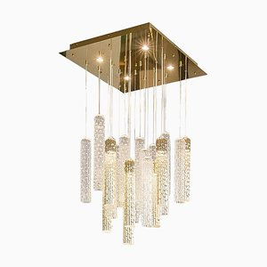 Italian New Pipe Small, Led & Muranese Glass Chandelier from Vgnewtrend