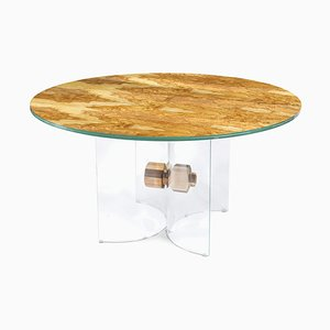 Italian Table Portofino Round in Glass and Olive-Tree Wood from Vgnewtrend