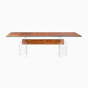 Italian Table Parigi in Glass and Bois De Rose from Vgnewtrend