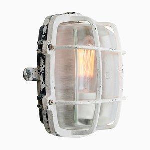 Weiße Industrielle Vintage Wandlampe aus Klarem Gestreiften Glas