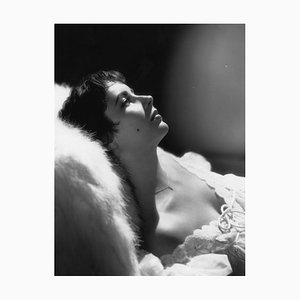 Elizabeth Taylor Reclining in Bed Silver Gelatin Resin Print Framed in White by Baron