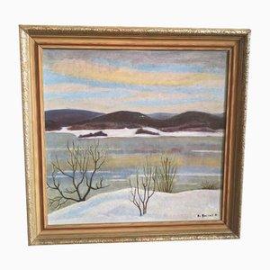 Öl auf Holz Gemälde von Bo Fjaestad, 1951