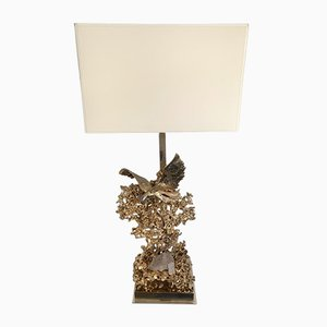 French Gilt Bronze Lamp with Quartz Crystal and Brass by Claude Victor Boeltz. 1970s