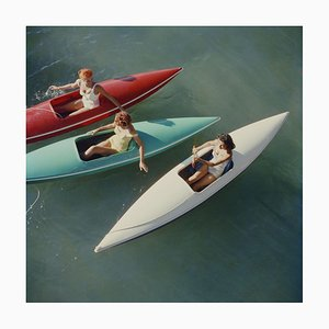 Lake Tahoe Canoes Oversize C Print Framed in White by Slim Aarons