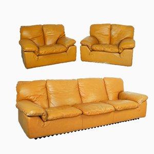 Sofá de dos plazas modelo Bonheur vintage y butacas de Ammannati & Calves, años 70. Juego de 3