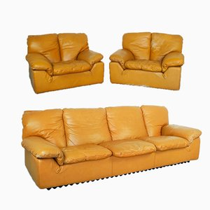 Vintage Model Bonheur 2-Seat Sofa & Armchairs by Ammannati & Calves, 1970s, Set of 3