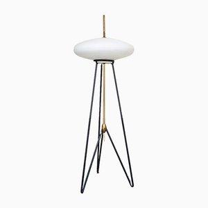 Lampada da tavolo in ferro, ottone e vetro opalino in stile Stilnovo, Italia, anni '50