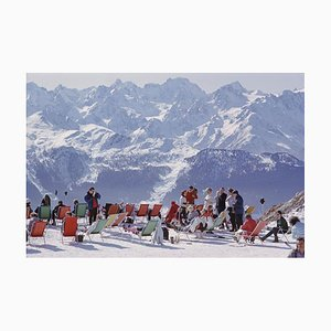 Lounging in Verbier Oversize C Print Framed in White by Slim Aarons