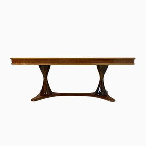 Italian Art Deco Maple Briar and Walnut Dining Table, 1940s