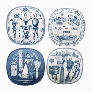 Commemorative Plates by Niels-Christian Hald for Rörstrand, 1976, Set of 4