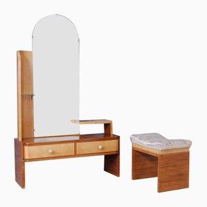 Tocador Art Déco de madera nudosa y puf con espejo, años 30. Juego de 2
