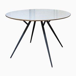 Tavolo da pranzo in ferro, formica e ottone, anni '50