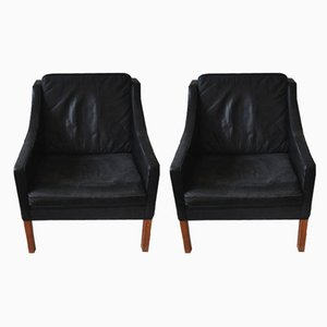 Black Leather 2209 Sofa & 2207 Chair by Børge Mogensen for Fredericia Stolefabrik, 1970s, Set of 2