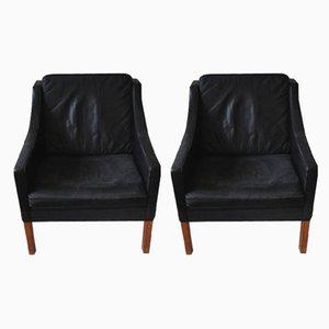 Canapé 2209 en Cuir Noir et Chaise 2207 par Børge Mogensen pour Fredericia Stolefabrik, 1970s, Set de 2