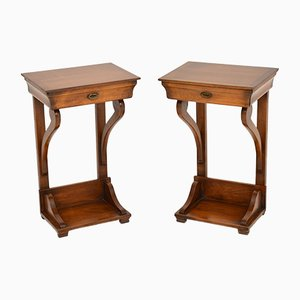 Empire Style Fruitwood Side Tables, 1950s, Set of 2