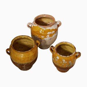 Antique French Confit Pots, Set of 3