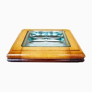 Glas mit Holzrahmen von Fontana Arte, 1970er