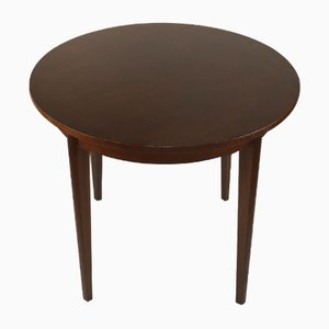 Table de Cuisine Brune Ronde en Vernis Brillant, 1970s