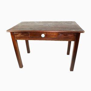 Mesa de cocina rectangular marrón con cajón, años 70