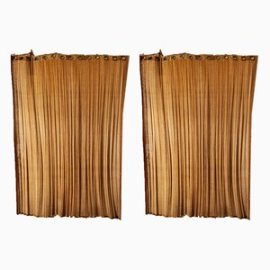 Vintage Italian Rattan, Suede & Brass Curtains, 1950s, Set of 2