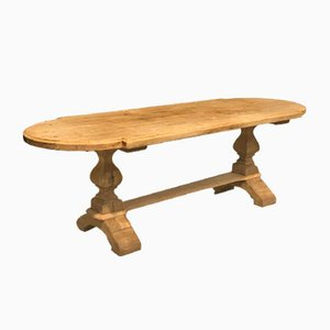 Large French Oak Refectory Farmhouse Dining Table with Extensions