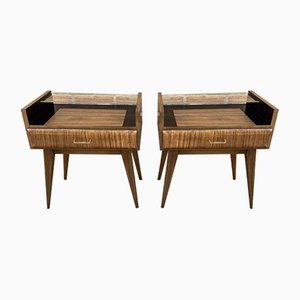 Mid-Century Italian Nightstands with Glass, 1960s, Set of 2