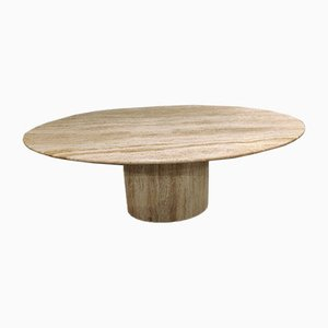 Vintage Oval Travertine Dining Table, 1970s