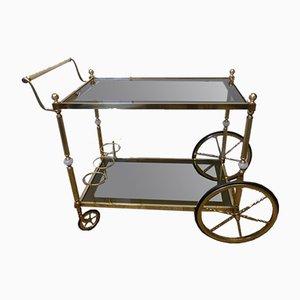 Chariot de Bar Néoclassique en Laiton Doré et Marbre Onyx