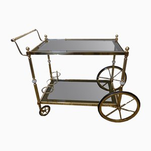 Neoclassical Gilded Brass and Onyx Marble Bar Cart
